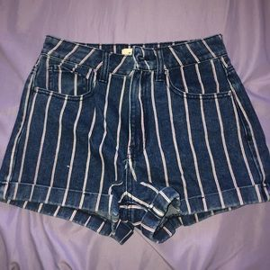 pacsun red white and blue pinstriped shorts